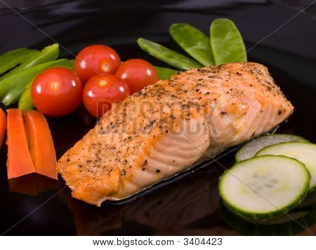 Salmon On  Black Plate