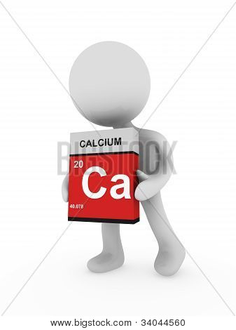 3D Man Carry A Calcium Box