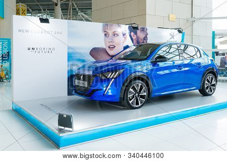 Lisbon, Portugal - October 24, 2019: The New Peugeot 208 Gt-line At The Lisbon Airport Display. The