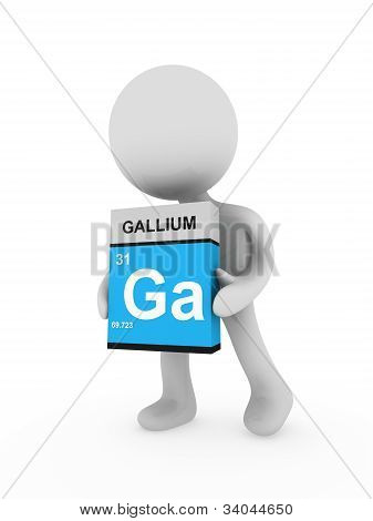 3D Man Carry A Gallium Box
