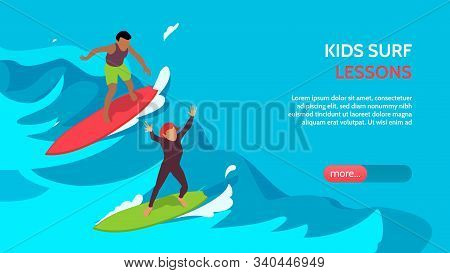 Kids Surfschool Lessons Coaching Supervision Isometric Horizontal Landing Page Banner With Children