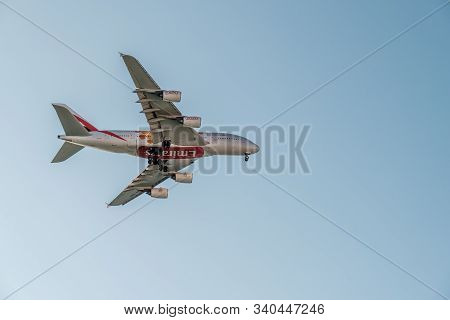 Nice, France - 13th December 2019. An Emirates Airbus A380-861 Is Coming Into Land At Nice Airport I