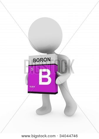 3D Man Carry A Boron Box