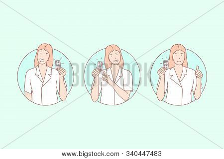 Medicine, Remedy Advertisement, Pharmacist Recommendation Concept. Treatment, Therapy, Female Doctor