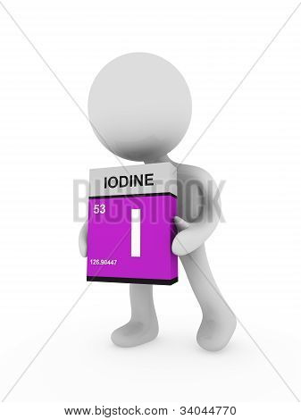 3D Man Carry A Iodine Box
