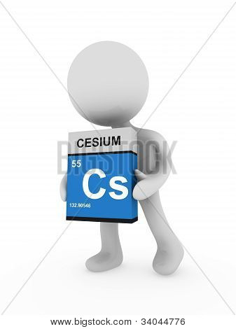 3D Man Carry A Cesium Box