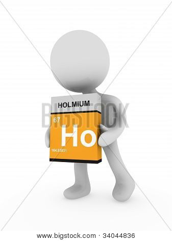 3D Man Carry A Holmium Box