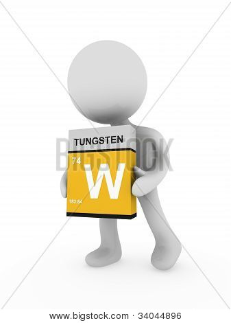 3D Man Carry A Tungsten Box