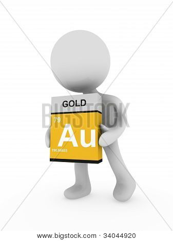3D Man Carry A Gold Box