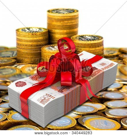 Russian Money As A Gift. A Pack Of 5000 Russian Rubles, Tied With A Red Ribbon With A Bow On The Bac