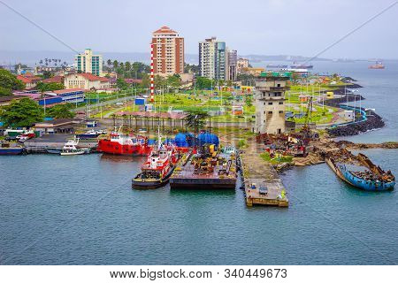 Colon Is A Sea Port On The Caribbean Sea Coast Of Panama. The City Lies Near The Caribbean Sea Entra