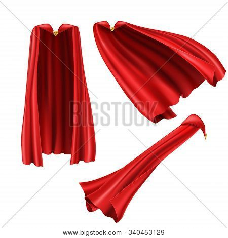 Red Superhero Cape, Cloak With Golden Pin Front And Side View. Fluttering On Wind Rippled Silk Cloth