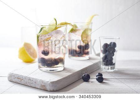 Summer Fresh Blueberry Lemonade Cocktails..