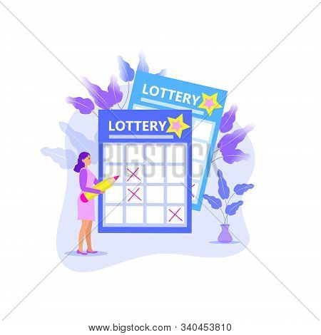 Leading Girl Notes Numbers Lottery, Lotto, Raffle, Keno. Modern Illustration Flat Style. A Woman Wit