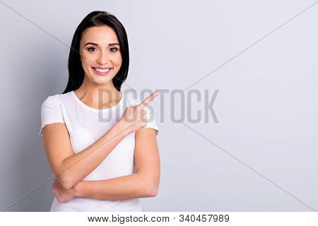 Portrait Of Her She Nice-looking Charming Attractive Lovely Shine Positive Cheerful Cheery Girl Poin