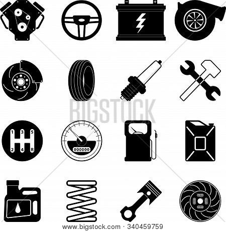 A Set Of 16 Vector Color Icons Of Automotive Subjects: Canister, Steering Wheel, Gasoline, Clutch, B