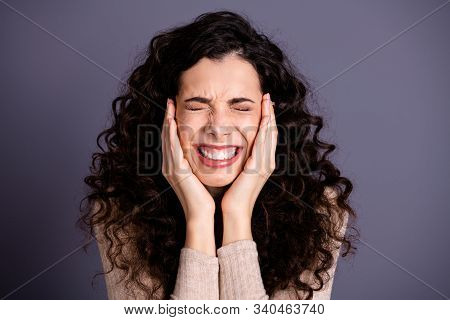 Close-up Portrait Of Her She Nice-looking Attractive Charming Cute Nervous Scared Wavy-haired Lady S