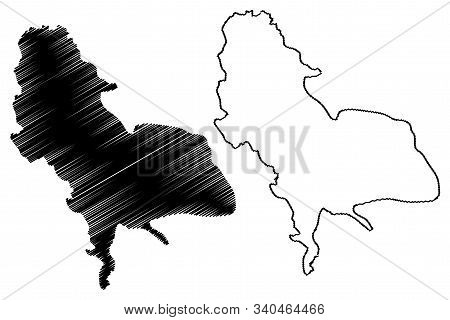 Una-sana Canton (bih, Federation Of Bosnia And Herzegovina, Fbih) Map Vector Illustration, Scribble