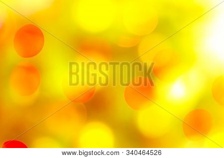 Abstract Christmas Background Of Blurred Garland Lights