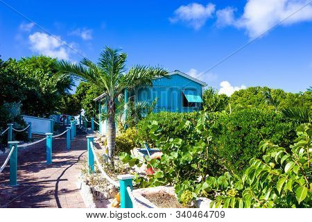 Colorful Tropical Cabana Or Shelter On The Beach Of Half Moon Cay In The Bahamas