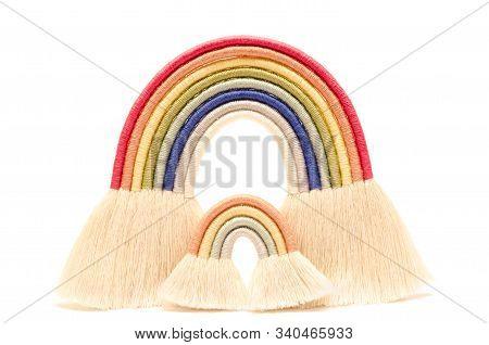 Macrame Rainbow Isolated On A White Background