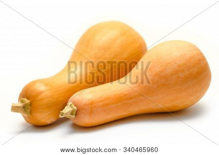 Two Pumpkins Isolated On A White Background