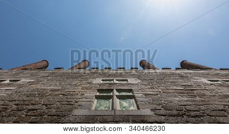 Guimaraes, Portugal - May 10, 2018: Architectural Detail Of The Palace Of The Dukes Of Braganza Next