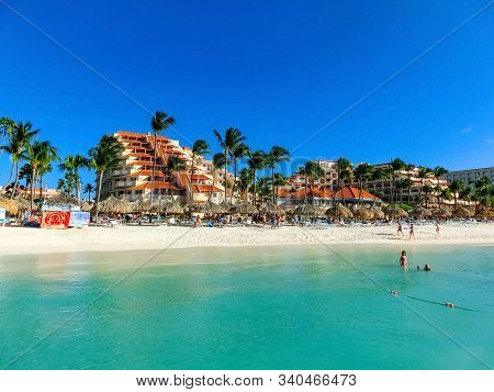 Palm Beach, Aruba - December 4, 2019: View Of Palm Beach On The Caribbean Island Of Aruba. Many Hote