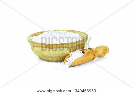 Citric Acid In A Wooden Cup With A Spoon For Spices Isolated On A White Background. Collection Of Sp