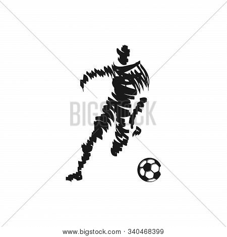 Soccer Or Football Player Vector Illustration. Soccer Or Football Player Silhouette Isolated On Whit