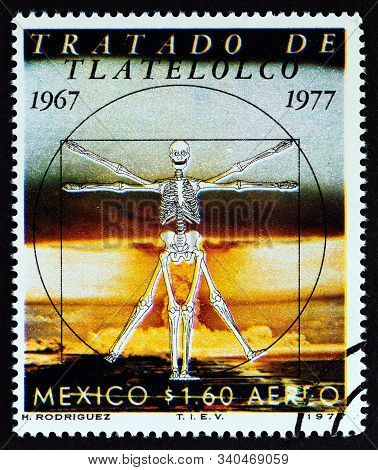 Mexico - Circa 1977: A Stamp Printed In Mexico Issued For The 10th Anniversary Of The Treaty Of Tlat
