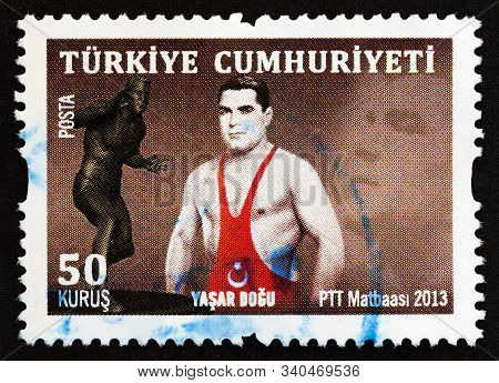 Turkey - Circa 2013: A Stamp Printed In Turkey Issued For The 100th Anniversary Of The Birth Of Yasa
