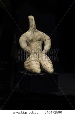 Malaga, Spain - March 2nd, 2019: Neolithic Venus Of Halaf Culture Representing Mother Goddess. Terra