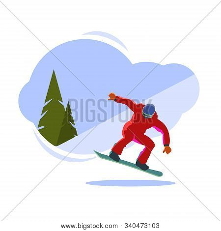 Snowboarder On The Board In The Jump. Vector Illustration