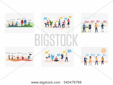 Friendly Talks Set. People Talking To Each Other, Greeting, Using Mobile Apps. Flat Vector Illustrat
