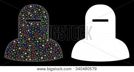 Glowing Mesh Muslim Hijab Icon With Glare Effect. Abstract Illuminated Model Of Muslim Hijab. Shiny