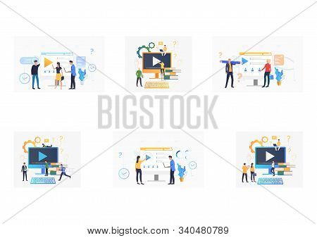 Video Content Set. Employees And Colleagues Watching Videos On Computer Monitor. Flat Vector Illustr
