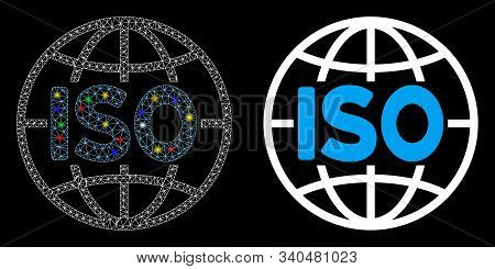 Glossy Mesh Iso Standards Icon With Glitter Effect. Abstract Illuminated Model Of Iso Standards. Shi