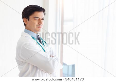 Portrait Handsome Doctor. Doctor Get Determined, Confident For Curing Illness People Or Plastic Surg