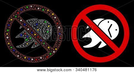 Glossy Mesh No Deadline Icon With Glitter Effect. Abstract Illuminated Model Of No Deadline. Shiny W