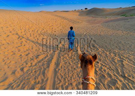 Camel Ride At Thar Desert, Rajasthan, India