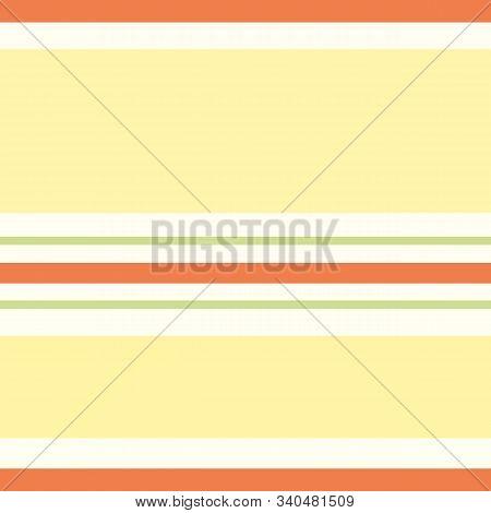 Horizontal Orange, Yellow, Green Narrow And Wide Stripes In Varied Geometric Design. Seamless Vector
