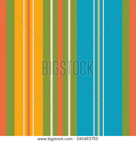 Beautiful Vibrant Orange, Yellow, Green And Aqua Blue Stripes In Varied Widths. Seamless Vertical Ge