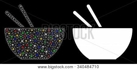 Bright Mesh Asian Food Icon With Glare Effect. Abstract Illuminated Model Of Asian Food. Shiny Wire