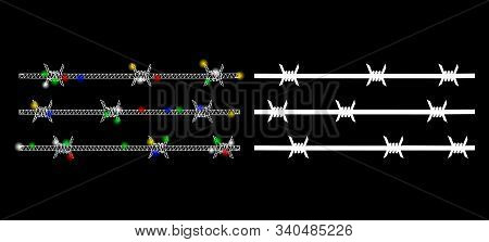 Glossy Mesh Barbwire Fence Icon With Glow Effect. Abstract Illuminated Model Of Barbwire Fence. Shin