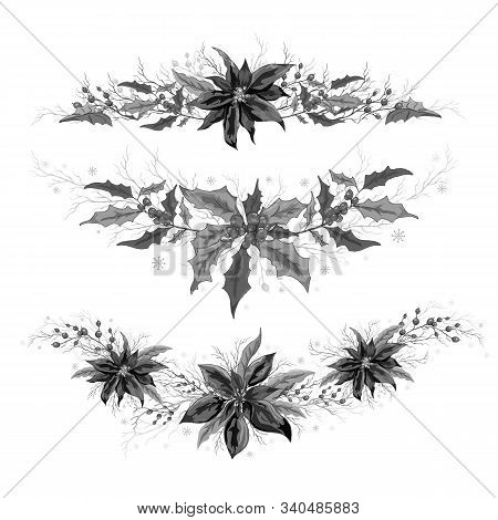 Floral Elements Of Poinsettia And Holly. Realistic Hand Drawn Doodle Isolated On White Background. T