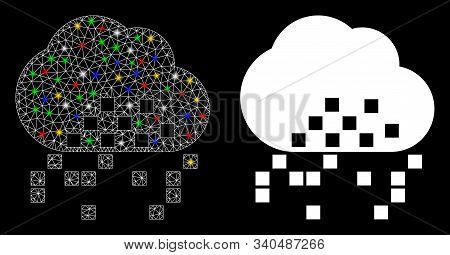 Glowing Mesh Cloud Dissipation Icon With Glare Effect. Abstract Illuminated Model Of Cloud Dissipati