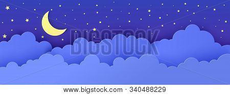 Night Sky In Paper Cut Style. 3d Background With Dark Cloudy Landscape With Stars And Moon Papercut