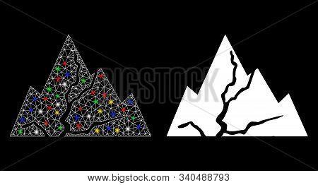 Flare Mesh Damaged Rocks Icon With Glitter Effect. Abstract Illuminated Model Of Damaged Rocks. Shin