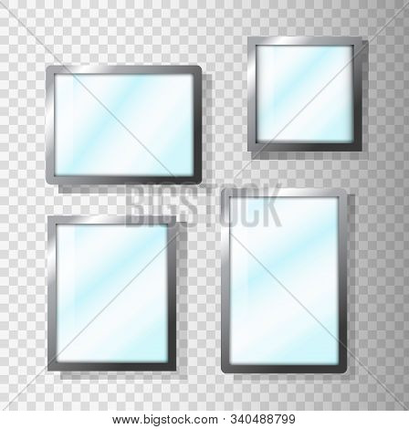 Vector Realistic Mirrors Set With Blurry Reflection. Metal Round And Rectangular Mirror Frame, White